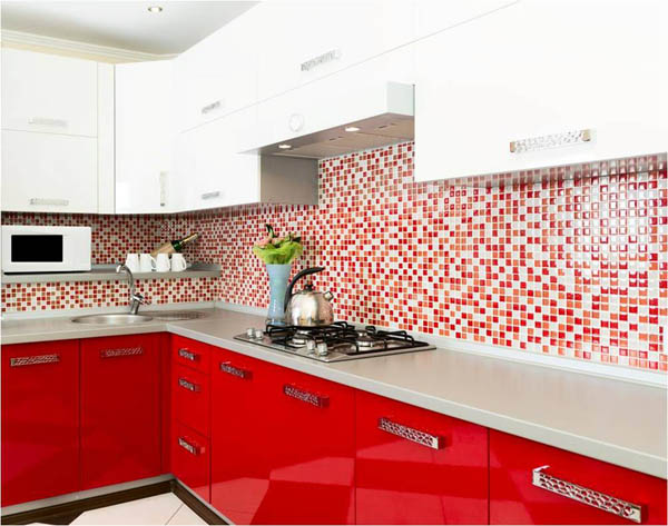 red and white kitchen cabinet doors, ντουλάπια κουζίνας σε λευκό και κόκκινο