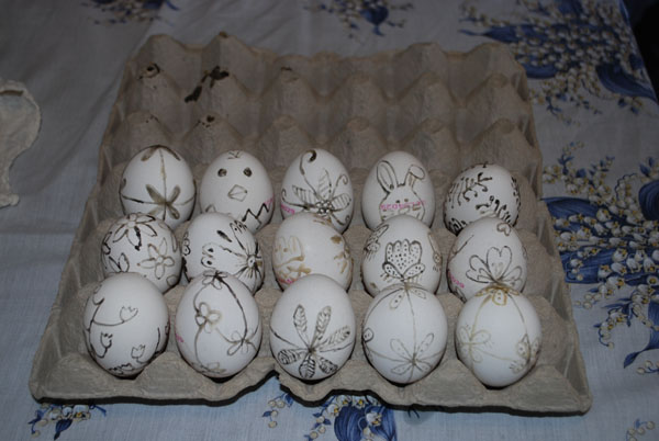 αυγά ζωγραφισμένα με κερί