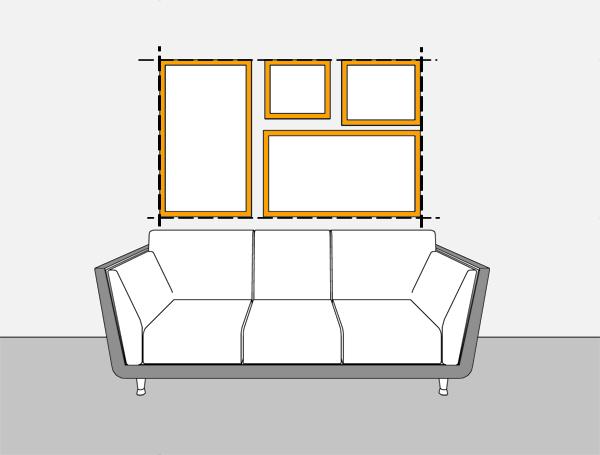 Διάταξη κάδρων πάνω απο τον καναπέ - decobook.gr